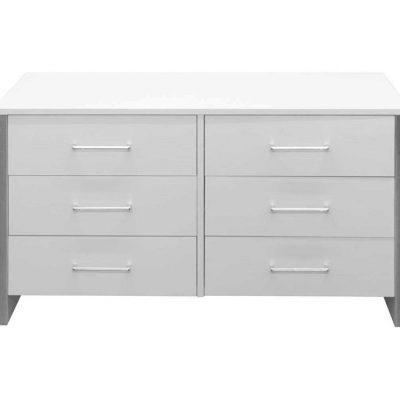 Wide 6 Drawer Chest of Drawers in White Ash